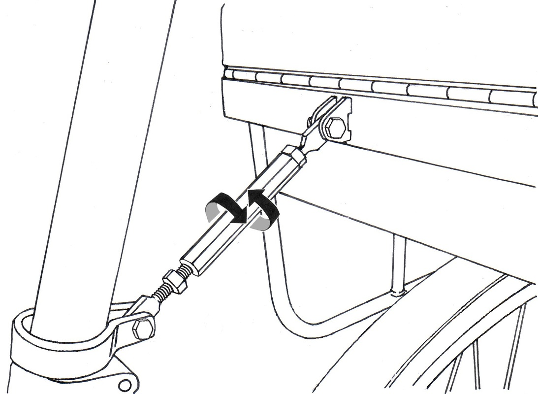 tighten/loosen the turn-buckle to level the seat