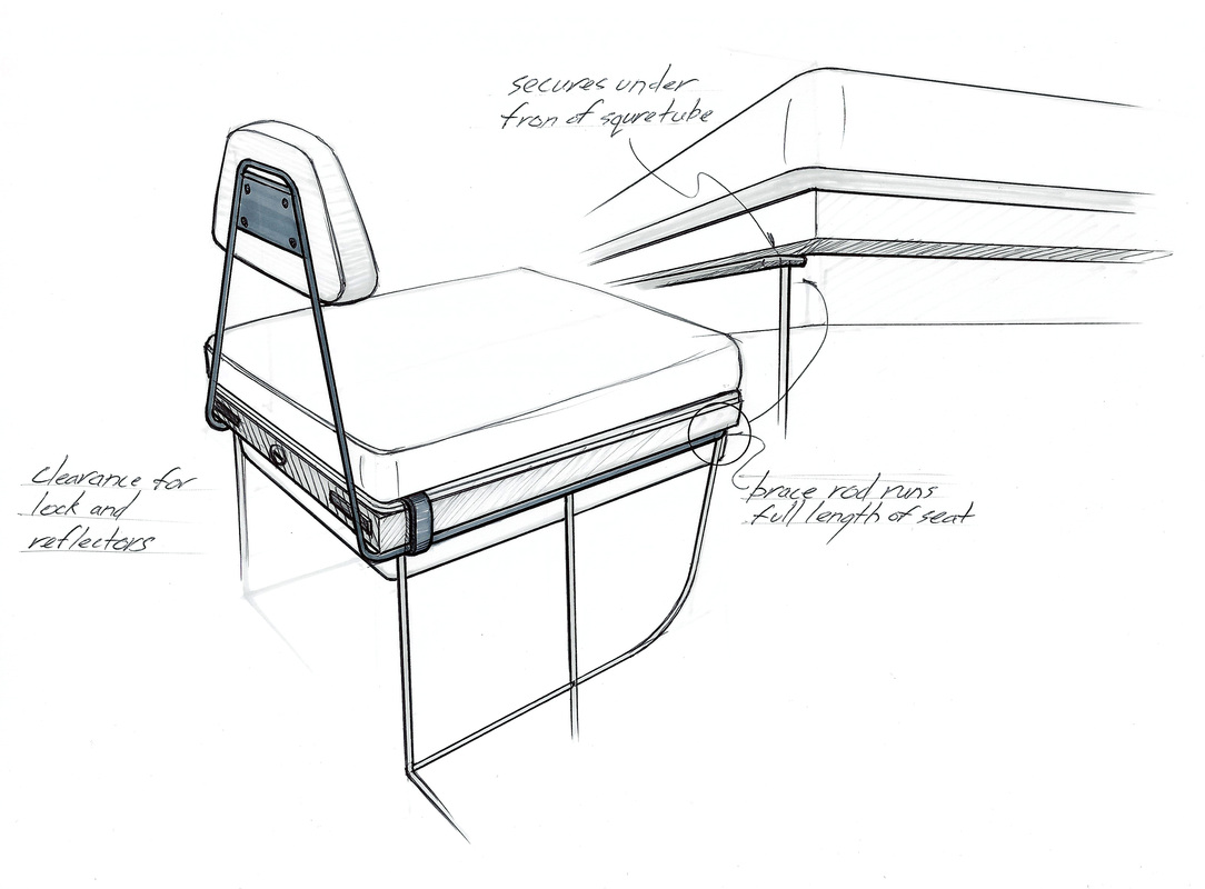 companion bike seat backrest design drawing