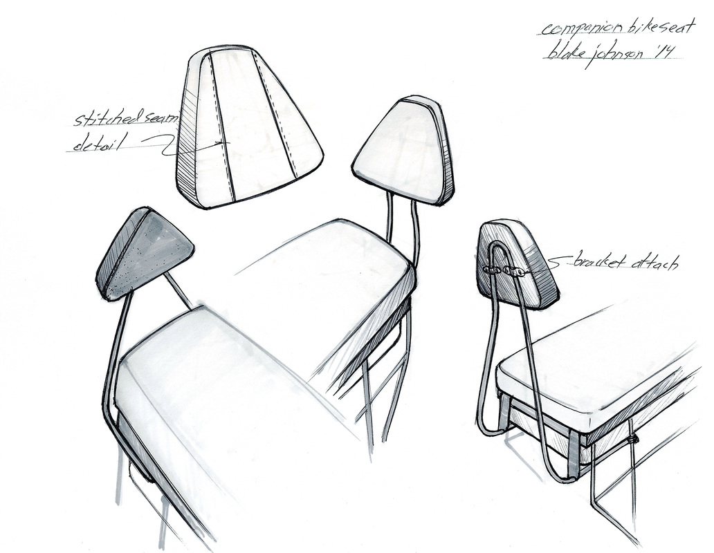companion bike seat backrest initial design drawings