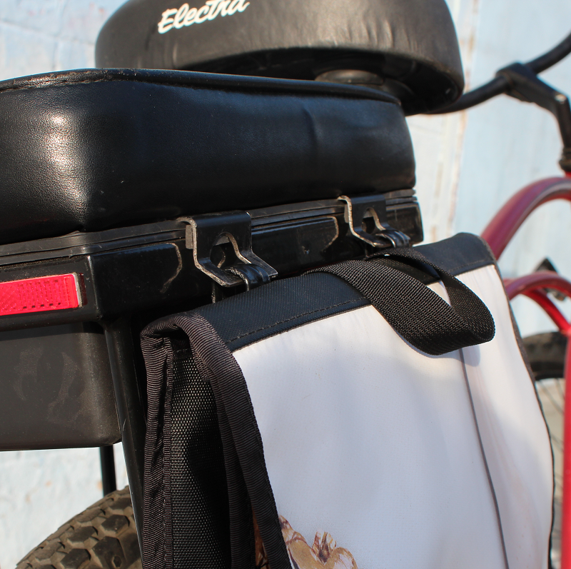 companion bike seat prototype pannier hooks with red cruiser