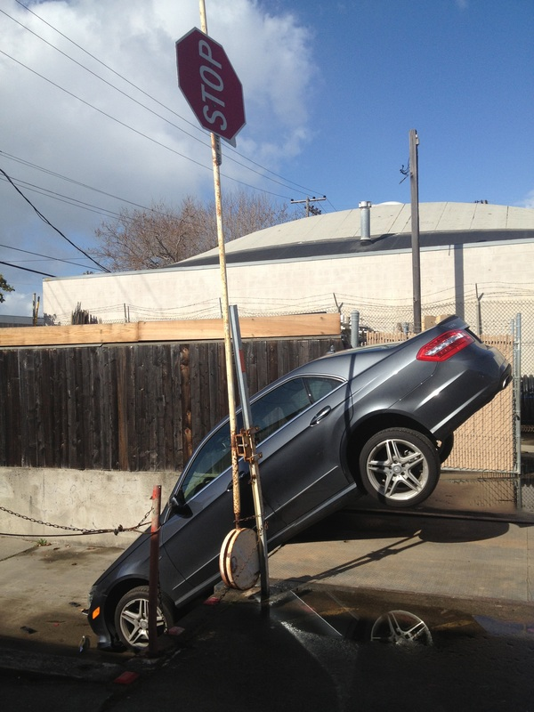 car tipped over the edge in Berkeley