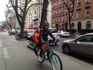 riding a Companion Bike Seat in New York City