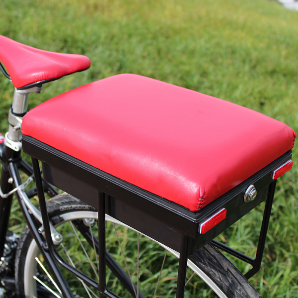 red leather companion bike seat